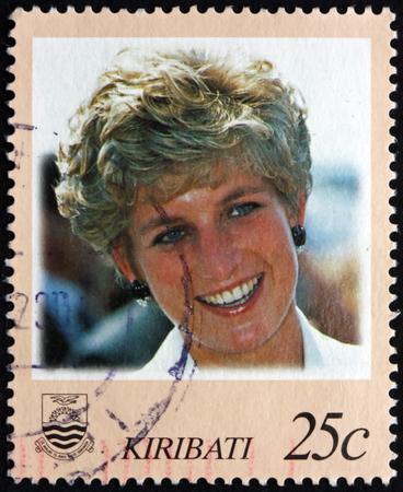 diana: KIRIBATI - CIRCA 1998: a stamp printed in Kiribati shows Diana, Princess of Wales, circa 1998
