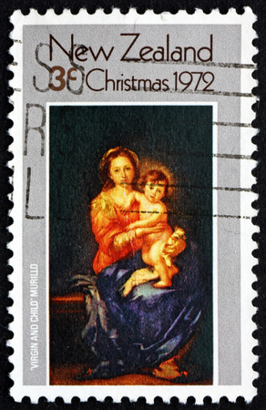 murillo: NEW ZEALAND - CIRCA 1972: a stamp printed in New Zealand shows Madonna and Child, Painting by Murillo, Christmas, circa 1972 Editorial