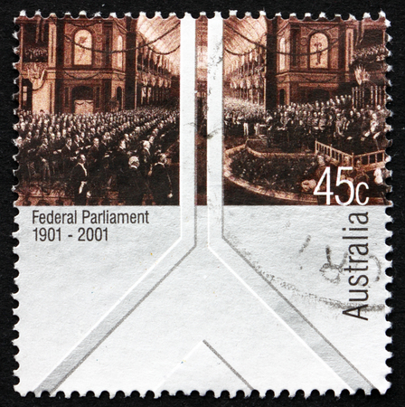 AUSTRALIA - CIRCA 2001: a stamp printed in Australia shows The Opening of the First Federal Parliament, 9. May 1901, Painting by Charles Nuttall, Centenary, circa 2001