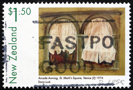 NEW ZEALAND - CIRCA 1999: a stamp printed in New Zealand shows Arcade Awning, St. Marks Square, Venice, Painting by Doris Lusk, circa 1999