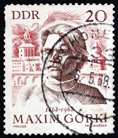 gorky: GERMANY - CIRCA 1968: a stamp printed in Germany shows Maxim Gorky and View of Gorky, Russian Writer, circa 1968