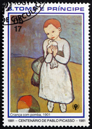principe: Santo Tomé y Príncipe - alrededor de 1981: un sello impreso en Santo Tomé y Príncipe muestra Niño con paloma, pintura de Pablo Picasso, alrededor de 1981