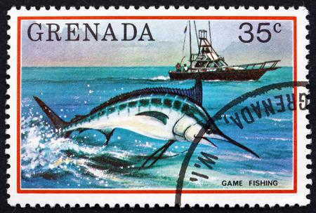game fishing: GRENADA - CIRCA 1976: a stamp printed in Grenada shows Game Fishing, circa 1976