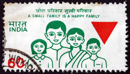 indian postal stamp: INDIA - CIRCA 1987: a stamp printed in India shows Family, Family Planning, circa 1987