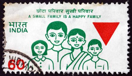 INDIA - alrededor de 1987: un sello impreso en la India muestra planificación de la familia, de la familia, alrededor de 1987