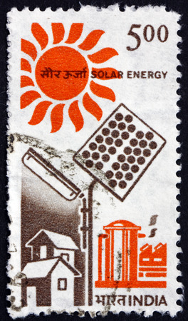 indian postal stamp: INDIA - CIRCA 1988: a stamp printed in India shows Solar Energy, circa 1988