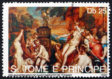 principe: Santo Tomé y Príncipe - alrededor de 1990: un sello impreso en Santo Tomé y Príncipe muestra Nymphos, pintura de Tiziano, alrededor de 1990