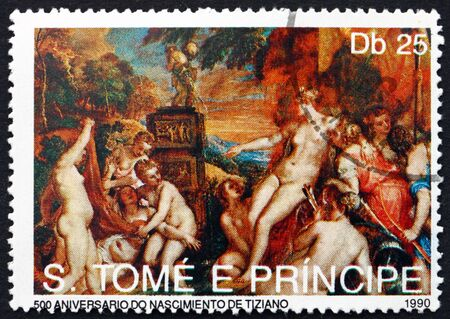 tome: SAO TOME AND PRINCIPE - CIRCA 1990: a stamp printed in Sao Tome and Principe shows Nymphos, Painting by Titian, circa 1990 Editorial