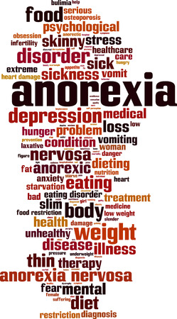 anorexia: Anorexia word cloud concept. Vector illustration