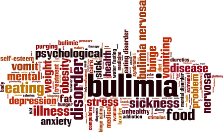 overeating: Bulimia word cloud concept. Vector illustration
