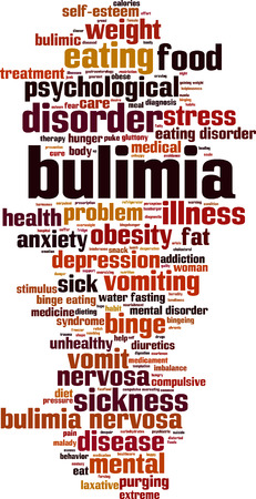 stres: Bulimia word cloud concept. Vector illustration
