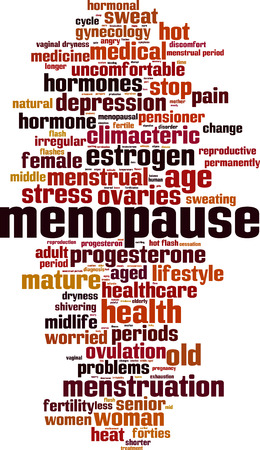 middle aged woman: Menopause word cloud concept. Vector illustration
