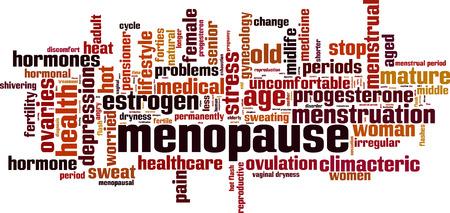 La menopausia palabra nube concepto. ilustración vectorial