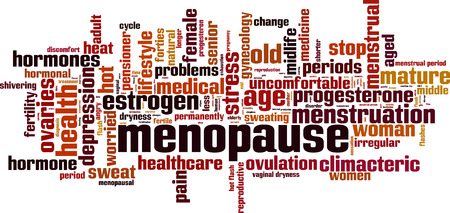 estrogen: Menopause word cloud concept. Vector illustration