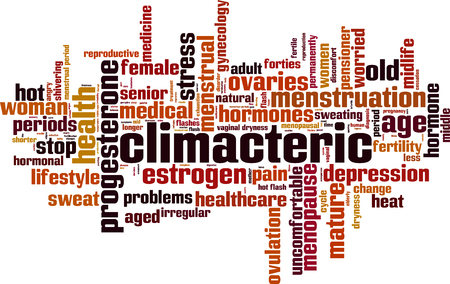 estrogen: Climacteric word cloud concept. Vector illustration