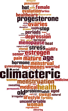 ovaries: Climacteric word cloud concept. Vector illustration