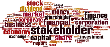 stockholder: Stakeholder word cloud concept. Vector illustration