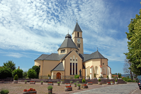 most: Parish church of the most holy trinity, Krasic, Croatia Editorial