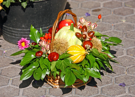gourds: Autumn decorations with gourds, chestnuts, apples, hips and green leaves Stock Photo