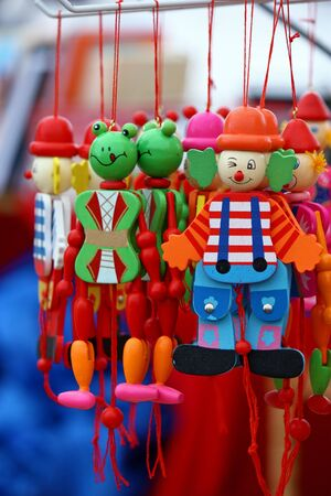 figurines: Colorful wooden figurines on local market