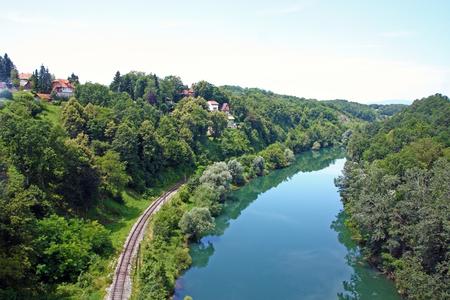 wood railroads: Kupa River upstream Stock Photo
