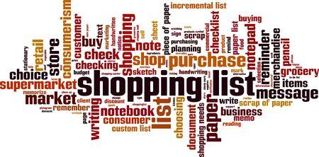 incremental: Shopping list word cloud concept. Vector illustration Illustration