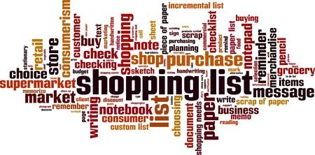 Shopping list word cloud concept. Vector illustration Illustration
