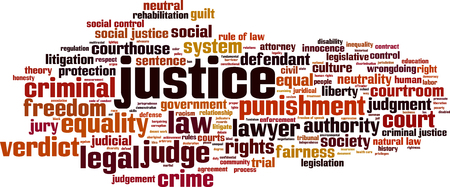 Justice word cloud concept. Vector illustration Stock Illustratie