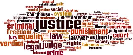 palabra justicia concepto de la nube. ilustración vectorial