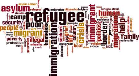 refugee: Refugee word cloud concept. Vector illustration Illustration