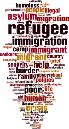 stateless: Refugee word cloud concept. Vector illustration Illustration