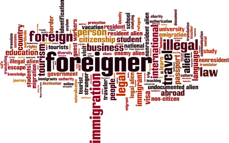 Foreigner word cloud concept. Vector illustration