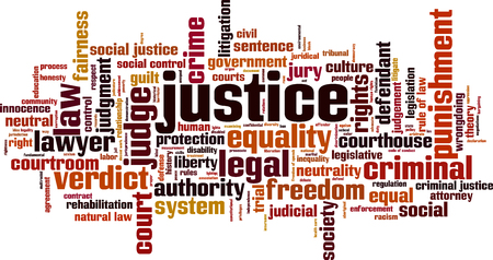 Justice word cloud concept. Vector illustration Stock Vector - 60193692