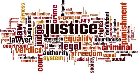 Justice word cloud concept. Vector illustration Illustration