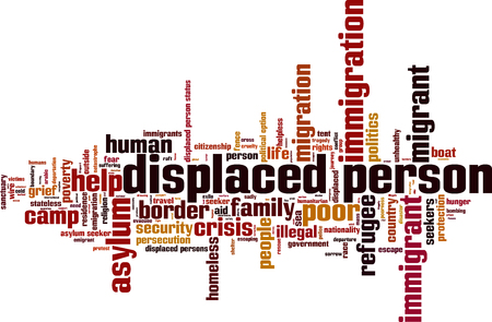 Displaced person word cloud concept. Vector illustration