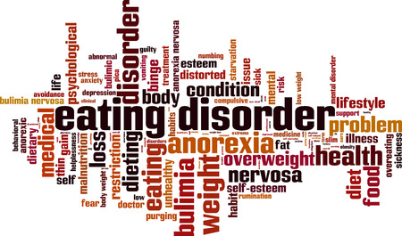 Eating disorder word cloud concept. Vector illustration