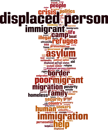 refugee: Displaced person word cloud concept. Vector illustration