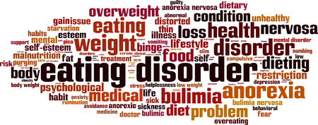 starvation: Eating disorder word cloud concept. Vector illustration