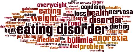 binge: Eating disorder word cloud concept. Vector illustration
