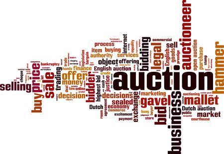 Auction word cloud concept. illustration Illustration