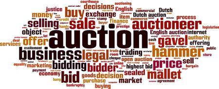 optimal: Auction word cloud concept. illustration Illustration