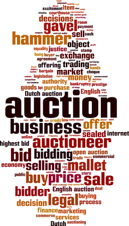 offering: Auction word cloud concept. illustration Illustration