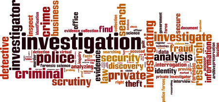 Investigation word cloud concept.  illustration Illustration