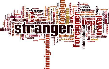 illegal alien: Stranger word cloud concept. illustration Illustration