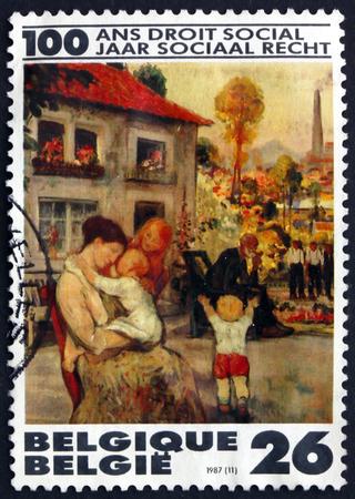 paulus: BELGIUM - CIRCA 1987: a stamp printed in the Belgium shows Leisure, Painting by Pierre Paulus, Belgian Painter, Centenary of the Belgian Social Reform, circa 1987