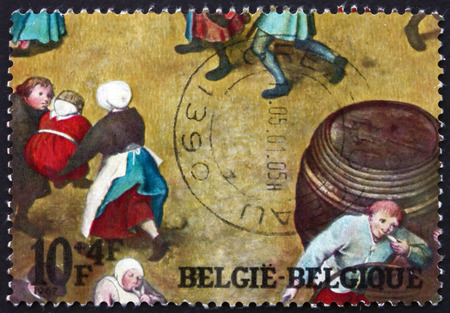 BELGIUM - CIRCA 1967: a stamp printed in the Belgium shows Detail from Children�s Games, Painting by Pieter Brueghel the Elder, Netherlandish Painter, circa 1967 Editorial