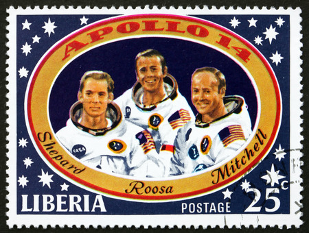 shepard: LIBERIA - CIRCA 1971: a stamp printed in the Liberia shows Shepard, Roosa and Mitchell, Apollo 14 Moon Landing, circa 1971