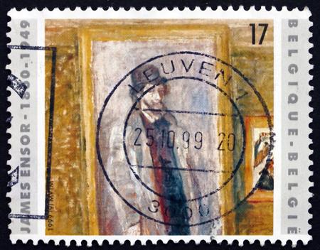 printmaker: BELGIUM - CIRCA 1999: a stamp printed in the Belgium shows My Favorite Room, Painting by James Ensor, Belgian Painter and Printmaker, circa 1999 Editorial