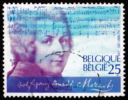 amadeus: BELGIUM - CIRCA 1991: a stamp printed in the Belgium shows Wolfgang Amadeus Mozart, Composer, circa 1991