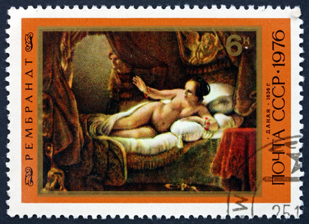 rembrandt: RUSSIA - CIRCA 1976: a stamp printed in the Russia shows Danae, Painting by Rembrandt, Dutch Painter and Etcher, circa 1976
